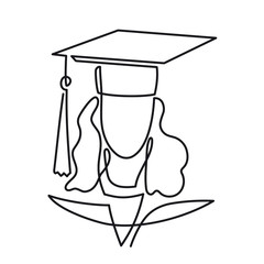 Continuous Line Drawing of Graduation student vector one line art icon isolated on white background. Graduate woman linear pictogram in graduation cap and gown