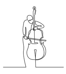 Continuous line drawing of musician plays double bass vector illustration isolated on white. Musical concept contrabass
