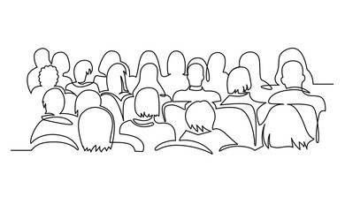 Continuous Line Drawing of Vector illustration character of audience in the conference hall background with blank space for your text and design. Outline, thin line art, hand drawn sketch