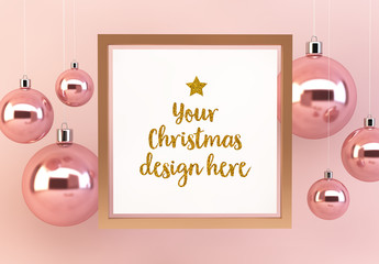 Square Frame with Ornaments Mockup