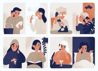 Collection of people talking on mobile phone. Bundle of men and women communicating through smartphone. Set of telephone conversations or dialogues. Colored vector illustration in modern flat style.
