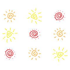 Sun doodle icon. Vector illustration of a set of sun. Hand drawn sun.