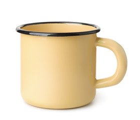 Yellow enamel coffee mug