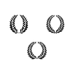 Black laurel wreath reward set. Modern symbol of victory and award achievement champion. Leaf ceremony awarding of winner tournament. Monochrome template for badge. Design element Vector illustration.