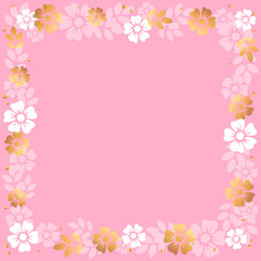 Decorative square frame of white and golden flowers and leaves on pink background for decoration, invitation or wedding, poster, valentines day, valentine, lettering or text, advertising, flower shop