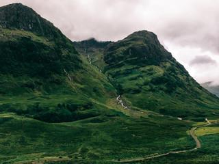 Green Scottish Highlands on Gloomy Overcast Day