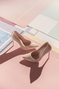 Close up of high heels on floor