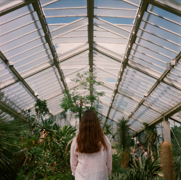 A back portrait of a woman in a greenhouse