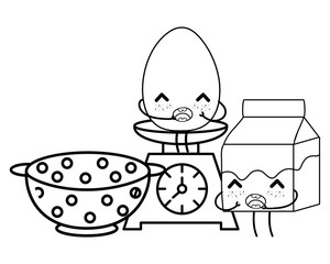 kitchen cute cartoons utensils black and white