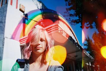 pink hair teen with rainbow