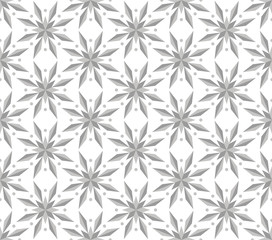 Vector seamless pattern with ornamental snowflakes. Elegant Christmas background. Art deco texture.