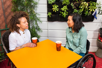 Friends having drinks on patio