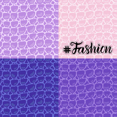 Set seamless pattern. Vector Fashion texture blue purple trandy Leather background. Merry Christmas and New Year luxurious holiday design card.