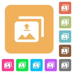 Upload multiple images rounded square flat icons