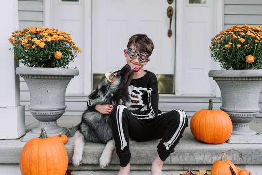 Smiling boy sitting with dog in Halloween costume