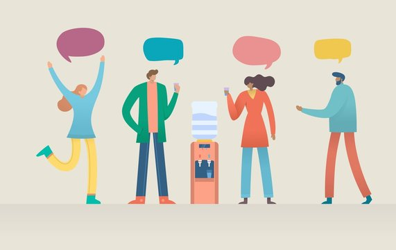 Group of people having conversation and drink water, office cooler chat vector illustration concept, can use for, landing page, template, ui, web, mobile app, poster, banner, flyer