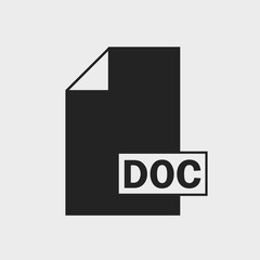 Document (DOC) file format icon on gray background.