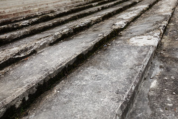 textured steps covered with moss. abstract architectural composition