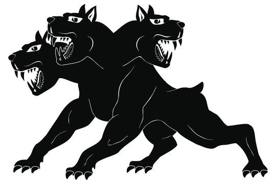 Angry three-headed dog Cerberus in attack pose. Isolated black figure on white background.