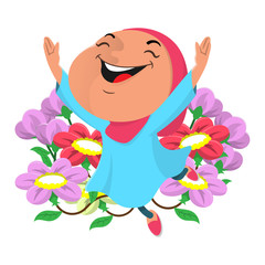 Cute Little Hijab Girl happy and dancing at flowers garden - Flat design - Cartoon Vector