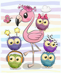 Cute Cartoon Flamingo and five owls