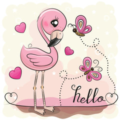 Cute Flamingo with hearts and butterflies