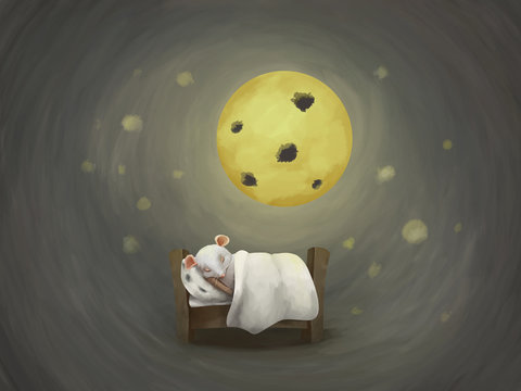Little white mouse's dreams in cozy bed under cheese moon. Have a good dreams, sleep well. Cute card, illustration for kids and adults