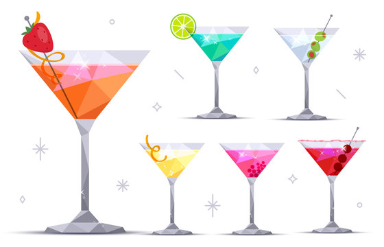 Set of martini cocktail glasses on white background. Margarita, Blue lagoon, Daiquiri, Cosmopolitan, Dry