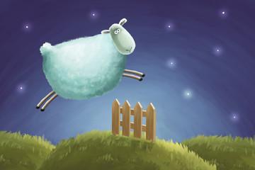 Insomnia. Sheep jumping through a fence. Сount sheeps cartoon illustration