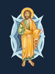 The Holy Transfiguration of our Lord God and Savior Jesus Christ. Illustration - part fresco in Byzantine style.