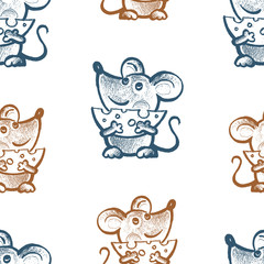 Seamless pattern of funny mice with cheese