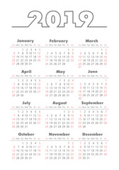 Vector pocket 2019 year calendar