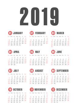Vector pocket 2019 year calendar