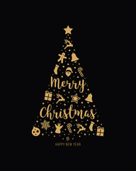 christmas tree gold icon elements lettering black background