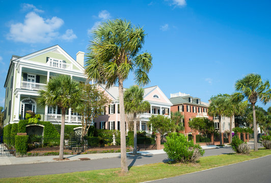 Bright scenic morning view of the historic Battery neighborhood with palmetto palm trees in Charleston, South Carolina, USA