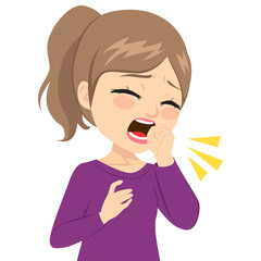 Illustration of young teenager girl coughing with fist in front of mouth