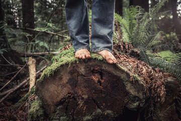 barefoot on a log