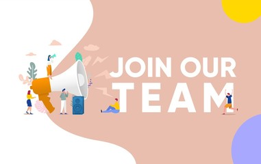 Join our team, people shouting on megaphone   with join our team word vector illustration concept, can use for, landing page, template, ui, web, mobile app, poster, banner, flyer