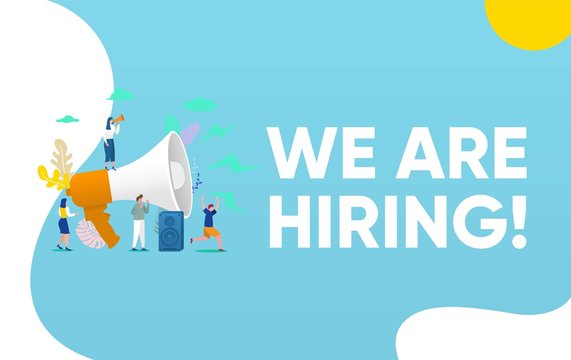 We are hiring, people shouting on megaphone   with we are hiring word vector illustration concept, can use for, landing page, template, ui, web, mobile app, poster, banner, flyer, background