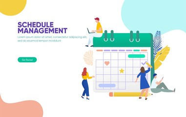 Schedule management vector illustration concept, group of young people make a plan can use for, landing page, template, ui, web, mobile app, poster, banner, flyer