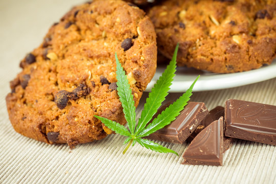 Delicious homemade Chocolate chip Cookies with CBD cannabis and leaf garnish and buds. Medicinal Edibles. Treatment of medical marijuana for use in food. Canada legalization. Rasta cookies
