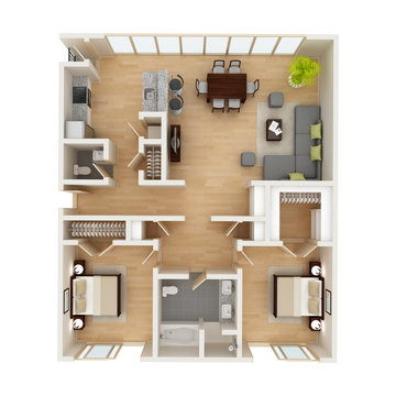Modern house floor plan top view 3D illustration.