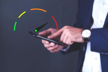 man hand speedometer in phone in screen