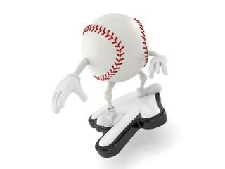 Baseball character surfing on cursor