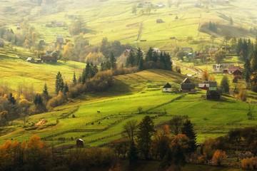aerial Carpathian view in mountains, wonderful autumn ukrainian landscape, huzul village in autumn season, Ukraine, Transcarpathian region, Europe