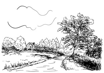 Sketch of countryside landscape with house, road and big oak tree, Hand drawn vector illustration