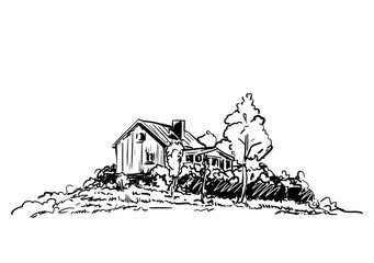 Sketch of countryside house surrounded by trees Hand drawn vector illustration