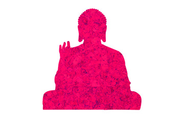 Figure of a pink Buddha on a white background