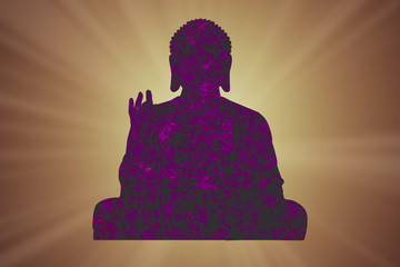 Silhouette of a buddha with rays and the sun in the background