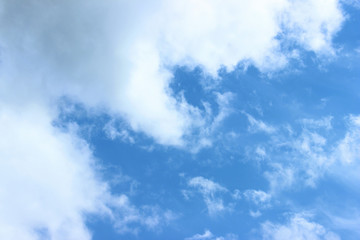 White puffy clouds on blue sky